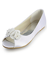 Women's Shoes Silk Flat Heel Peep Toe / Ballerina Flats Wedding / Party & Evening Ivory / White