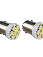 BA9S 8x1206 SMD White Light LED Bulb for Car Dashboard/Trunk Lamps (2-Pack, DC 12V)