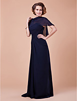 Women's Wrap Capelets Sleeveless Chiffon Dark Navy Wedding / Party/Evening Bateau 39cm Draped Pullover