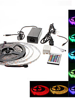 Waterproof 5M 300x3528 SMD RGB LED Strip Light with 24-Button Remote Controller and AC Adapter Set (100-240V)