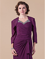 Women's Wrap Shrugs 3/4-Length Sleeve Chiffon Grape Wedding / Party/Evening Wide collar 39cm Draped Open Front