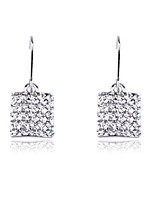 Wedding Korean Fashion Drill Square Drop Earrings