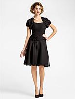 Women's Wrap Shrugs Short Sleeve Chiffon Black Wedding / Party/Evening Scoop Draped Open Front