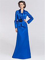 Women's Wrap Coats/Jackets Long Sleeve Satin Royal Blue Wedding / Party/Evening Shawl Collar Flower(s) / Ruffles Clasp