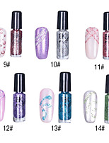 1pcs de glitter nail art top coat no.9-14 polonês decorativo (7 ml, cores sortidas)