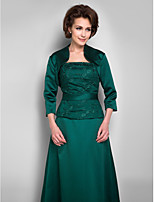 Women's Wrap Shrugs 3/4-Length Sleeve Satin Dark Green Wedding / Party/Evening / Casual Scoop Draped Open Front
