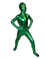 Child Green Open Eyes Shiny Metallic Zentai