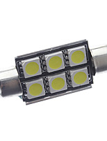 39mm 2.5W 6-SMD LED 180-200LM 6000-6500K White Light Bulb for Car Reading/License Plate/Dome Lamp  (12V)