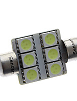 Festoon 36mm 1W 72LM LED 6x5050SMD Ice Blue Lectura lámpara / luz de placa (12V)