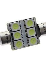 Festão 36 milímetros 1W 72LM 6x5050SMD LED Ice Reading Lamp / Licença de iluminação da chapa azul (12V)