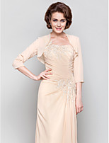 Women's Wrap Shrugs 3/4-Length Sleeve Chiffon Champagne Wedding / Party/Evening Scoop Beading Open Front