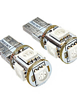T10 1W 5x5050SMD 70LM Yellow Light-LED für Auto (DC 12V, 2-Pack)