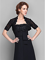 Women's Wrap Shrugs Short Sleeve Lace Black Wedding / Party/Evening Wide collar 39cm Beading / Lace Open Front