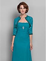 Women's Wrap Shrugs 3/4-Length Sleeve Chiffon Jade Wedding / Party/Evening Scoop Beading Open Front