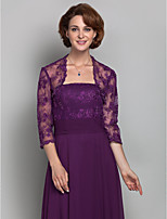 Women's Wrap Shrugs 3/4-Length Sleeve Lace Grape Wedding / Party/Evening Scoop Beading / Lace Open Front