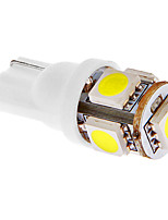 T10 1W 5x5050SMD 45LM 6000-7000K Cool White Light LED Bulb for Car (DC 12V)
