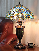 Table Lamp, 2 Light, Exotic Tiffany Resin Glass Painting