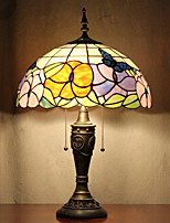 Butterflies Pattern Table Lamp, 2 Light, Tiffany Resin Glass Painting