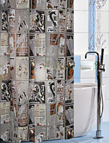 Shower Curtain Newspaper Print W78 x L71