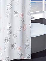מקלחת וילון פוליאסטר ירוק וכתום הדפס פרחים