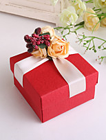 Red Square Favor Box With Rose - Set of 12