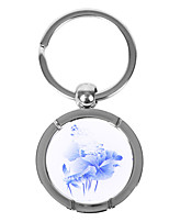 Personalized Round Blue-and-white Porcelain Style Keychain - Lotus Leaves