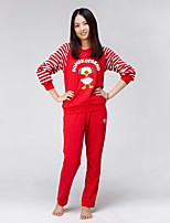 Domoko Family Fitted Mom'S Long Sleeve Tops & Pants(Red)_DMK-06