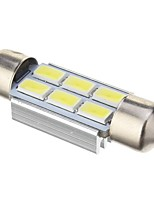 Slinger 2W 6x5730SMD 140LM ​​6000K Cool White Light LED lamp voor in de auto (DC 12V, 39mm, 1st)