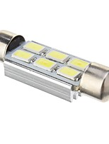 Slinger 2W 6x5730SMD 140LM 6000K Cool White Light LED lamp voor in de auto (DC 12V, 41mm, 1st)