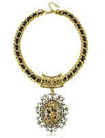 Европейский Стиль Vintage смола Черный овал Ожерелье (Подробнее Цвет)