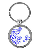 Personalized Round Blue-and-white Porcelain Style Keychain