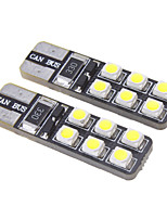 T10 1W 12x3528SMD 15LM 6000-6500K Cool White LED Bulb for Car (12V)