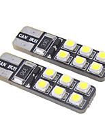 T10 1W 12x3528SMD 15LM 6000-6500K fresco Lâmpada LED branco para carro (12V)
