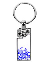 Personalized Rectangle Asian Style Keychain - Flower