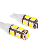 T10 1.5W 9x5050SMD 6000K Cool White Light LED Bulb for Car (12V,2pcs)