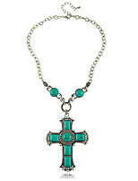 Religion Green Turquoise Cross Necklace