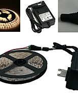Waterproof 5M 300X3528 Smd Warm White Led Strip Light and Connector and Ac110-240V to Dc12V3A Transformer