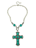 European Style Turquoise Green Cross Women's Necklace