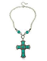 Европейский стиль Бирюзовый Зеленый Крест Женская ожерелье