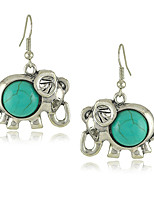 Vintage Style  Green Elephant Turquoise Women's Drop Earrings