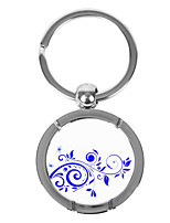 Personalized Round Blue-and-white Porcelain Style Keychain - Cirrus