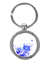 Personalized Round Blue-and-white Porcelain Style Keychain - Peony