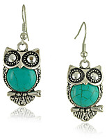 Vintage Style Green OWL Turquoise Women's Drop Earrings