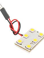BA9S T10 Festoon 1W 6x5050SMD 6000K fresco lâmpada LED de luz branca para o carro (12V)