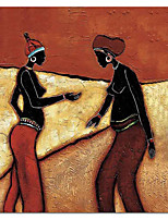 Hand Painted Oil Painting People Sisters with Stretched Frame