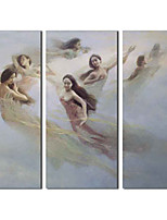 Hand Painted Oil Painting People Rapture Fairy with Stretched Frame Set of 3