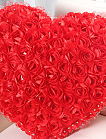 Vivid Modern Red Rose Cluster Heart Shape Novelty Pillow