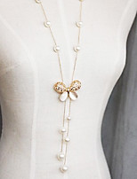 Classic (Butterfly Pendant) Ivory Imitation Pearl With Opal Pendant Necklace (1 Pc)
