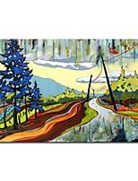 ציור שמן שצויר ביד ציור נוף Cartoon כביש עם מסגרת מתוחה