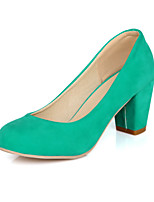 Zapatos de mujer-Tacón Robusto-Tacones / Punta Redonda-Tacones-Casual-Semicuero-Negro / Azul / Beige